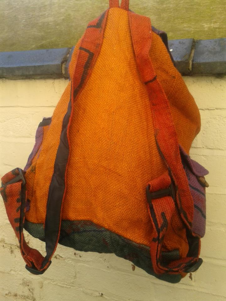 Orange cotton rucksack 003